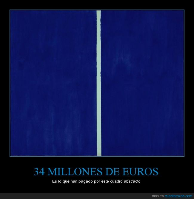 Arte,azul,Barnett Newman. Onement VI (1953).,blanco,cuadro,fondo,linea,locura,millones,raya,timo