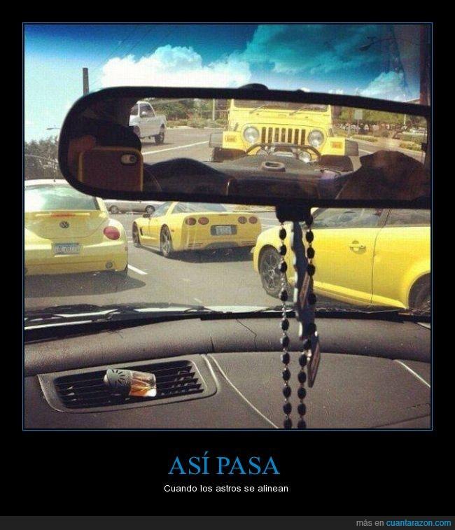 amarillos,beatle,carretera,casualidad,coche,coincidencia,color,corvette,jeep,retrovisor
