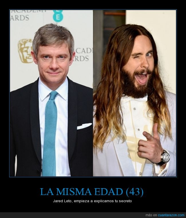 30 seconds to mars,43 años,Bilbo,edad,flipa,Jared Leto,Joker,Martin Freeman,Watson