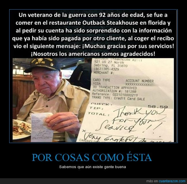 invitar,pagar,recibo,regalar,restaurante,veterano