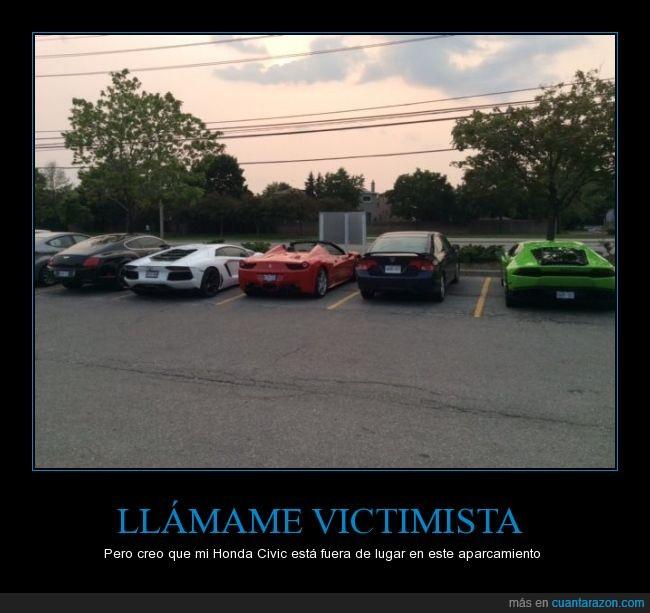 aparcados,deportivos,estacionamiento,Ferrari,Honda civic,lambo