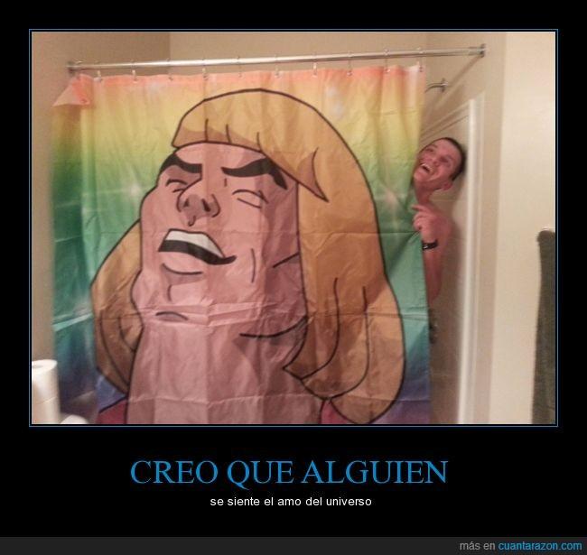 bañera,baño,cortina,ducha,he-man,Heman,risa