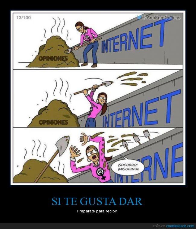 estiercol,feminazi,feminismo mal entendido,Internet,lanzar,porquería,queja,recibir,suciedad,tirar