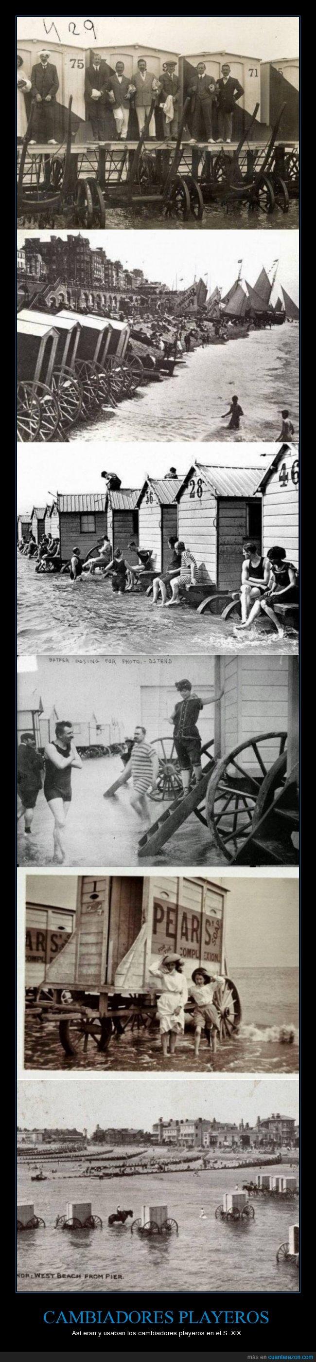 Cambiadores playeros,curioso,Estados Unidos,Europa,natación recreativa,plyas,S. XIX