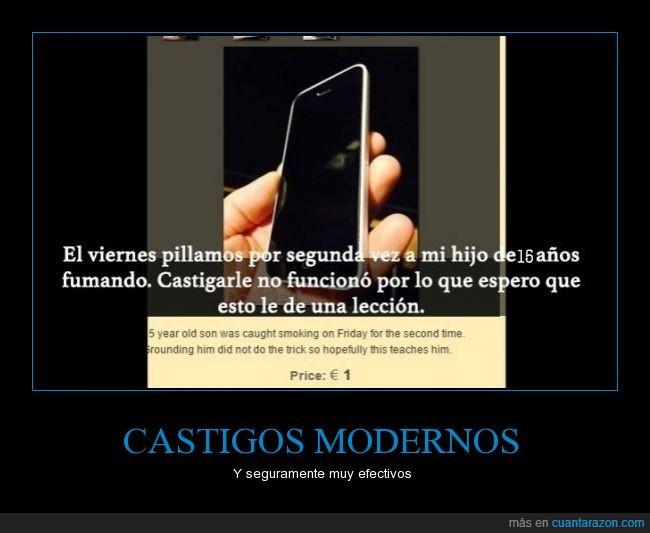 castigo moderno,iphone,móvil,padre,vender