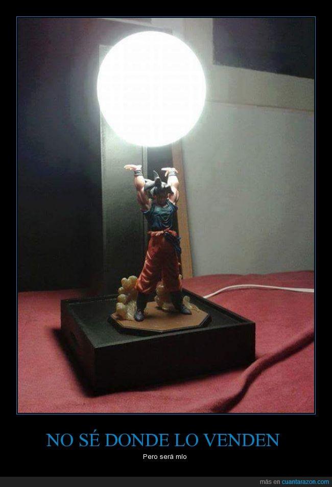 Goku,henkidama,lampara muy molona :3,levantarse con esto no tiene precio,luz de noche,mesa de noche