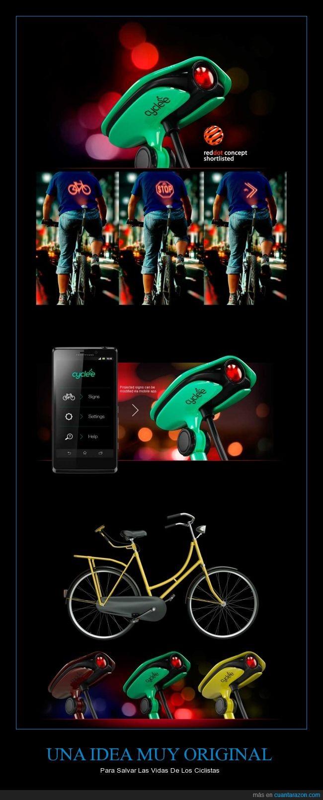 bicicleta,Ciclistas,idea,luces,original,proyectar,proyector,salvar,vida