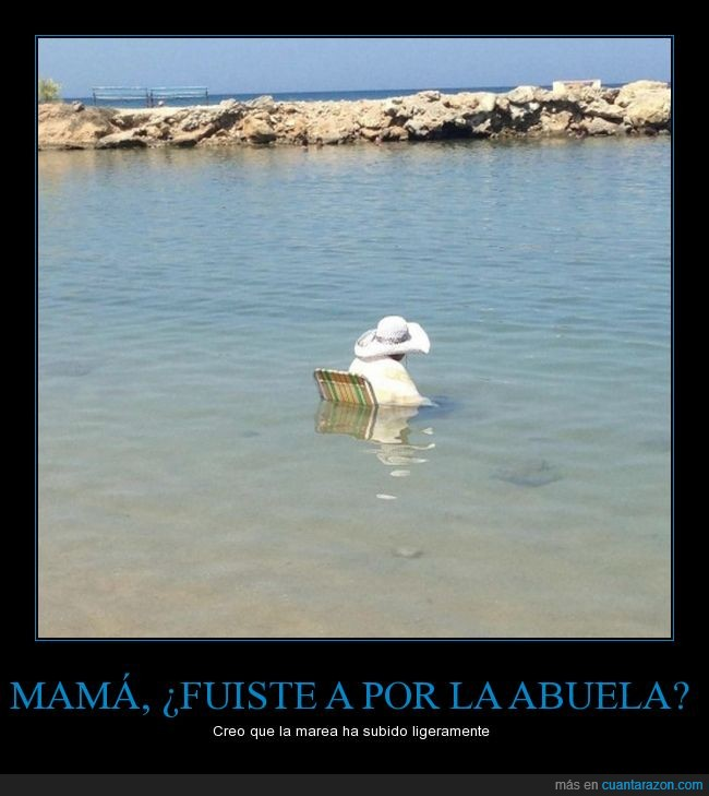abuela,inundada,mar,marea,sentada