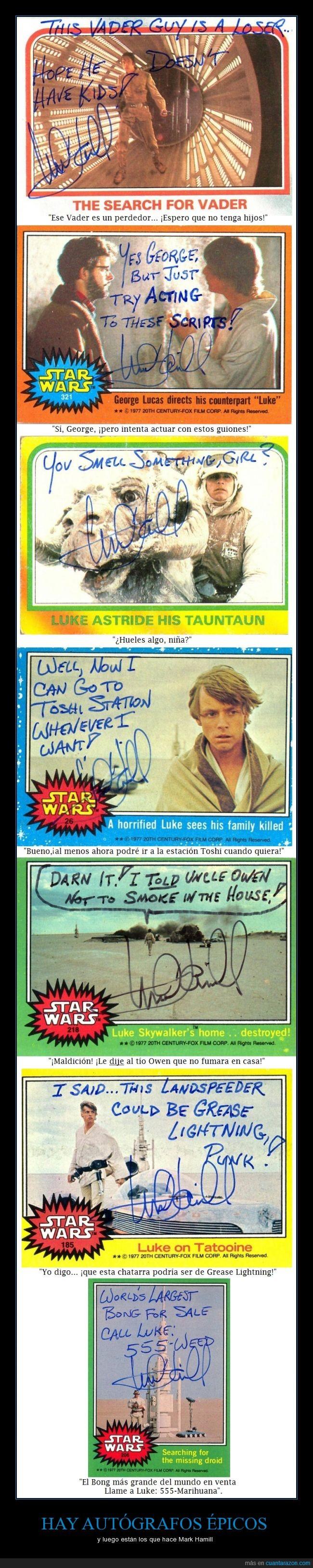 autógrafo,cromo/figurita,Episodio IV V VI,firma,George Lucas,humor,La Guerra de las Galaxias,Mark Hamill,parodia,Star Wars