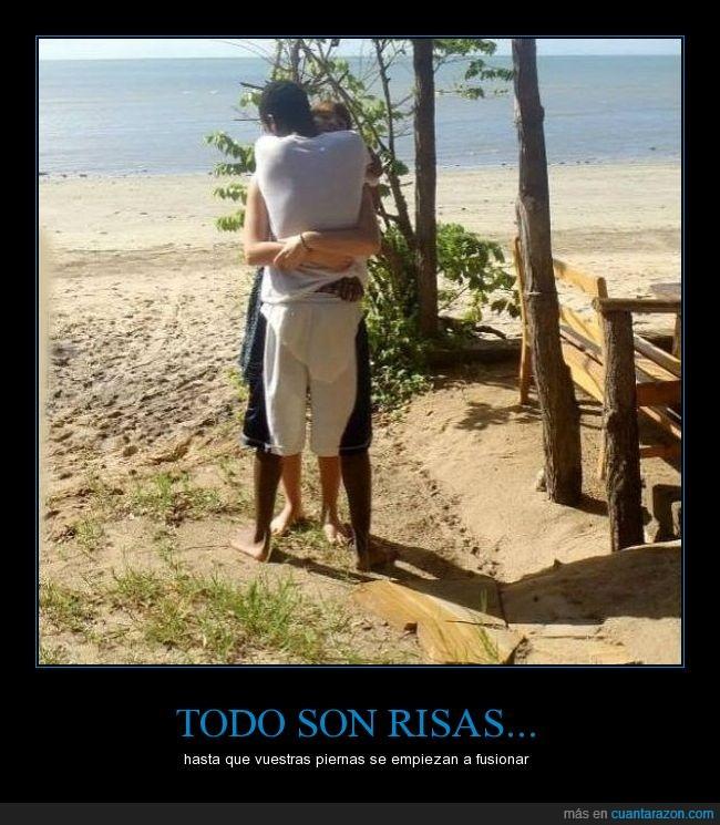 abrazo,fusión,perspectiva,pierna,playa,risa