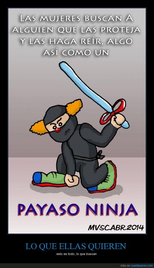 ellas,fácil,ninja,payaso,protección,reir
