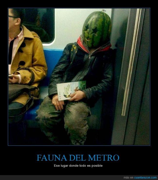 cabeza,Cara,metro,Sandia,vagón