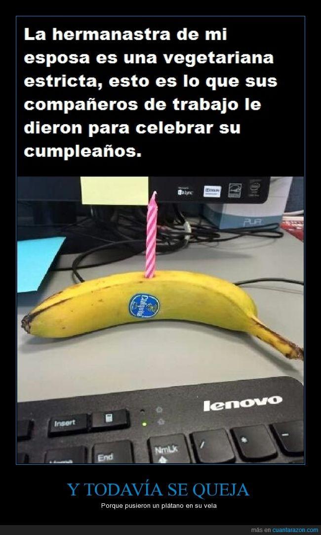 plátano,tarta,vela