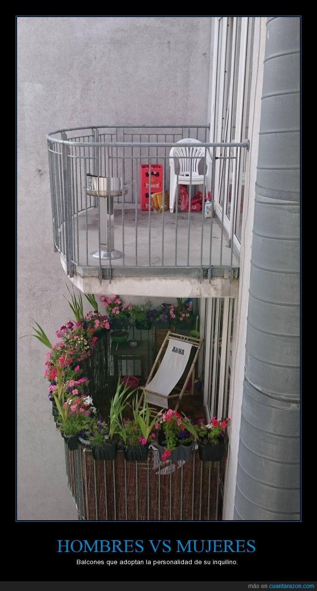 Balcones,diferencia,flores,sillas