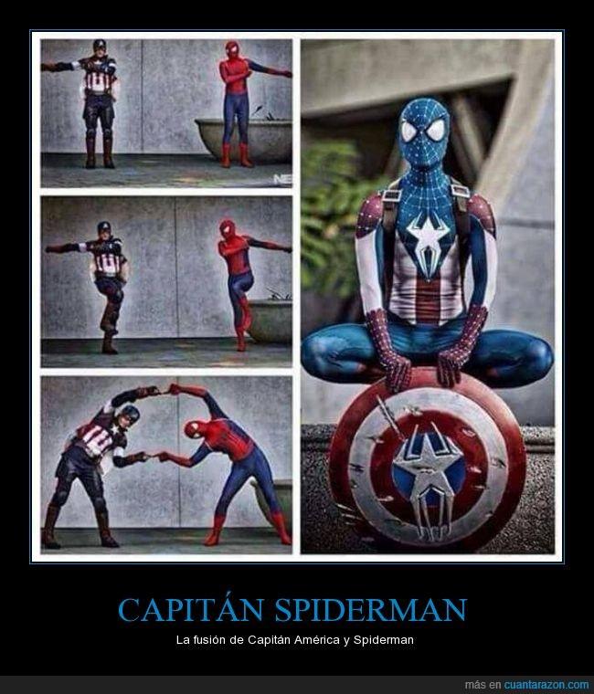 Capitan America,fusión,Spiderman