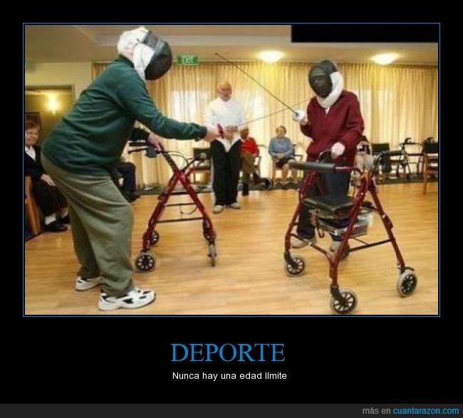 abuelos,andador,deporte,edad ciertamente mayor,entrenamiento,esgrima,sin limites,tacata
