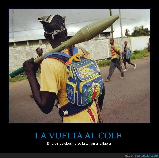 arma,bazooka,clases,cole,mochila,pistola,teletubbies,vuelta