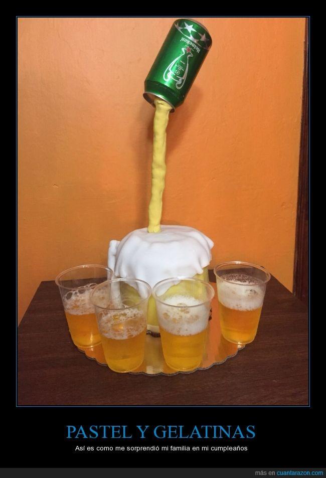 24 años,cerveza,cumpleaños,gelatina,gracias a todos,Pastel,sorpresa,tarta,vaso
