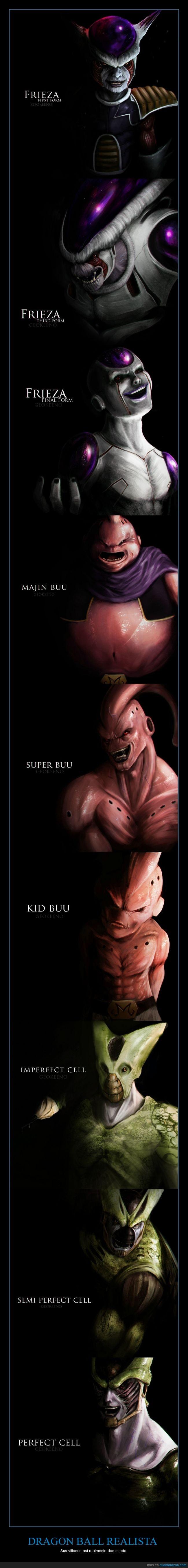 Buu,Cell,Célula,DBZ,Dragon Ball,forma,Freezer,Frieza,geokeeno,ilustración,realista,villano