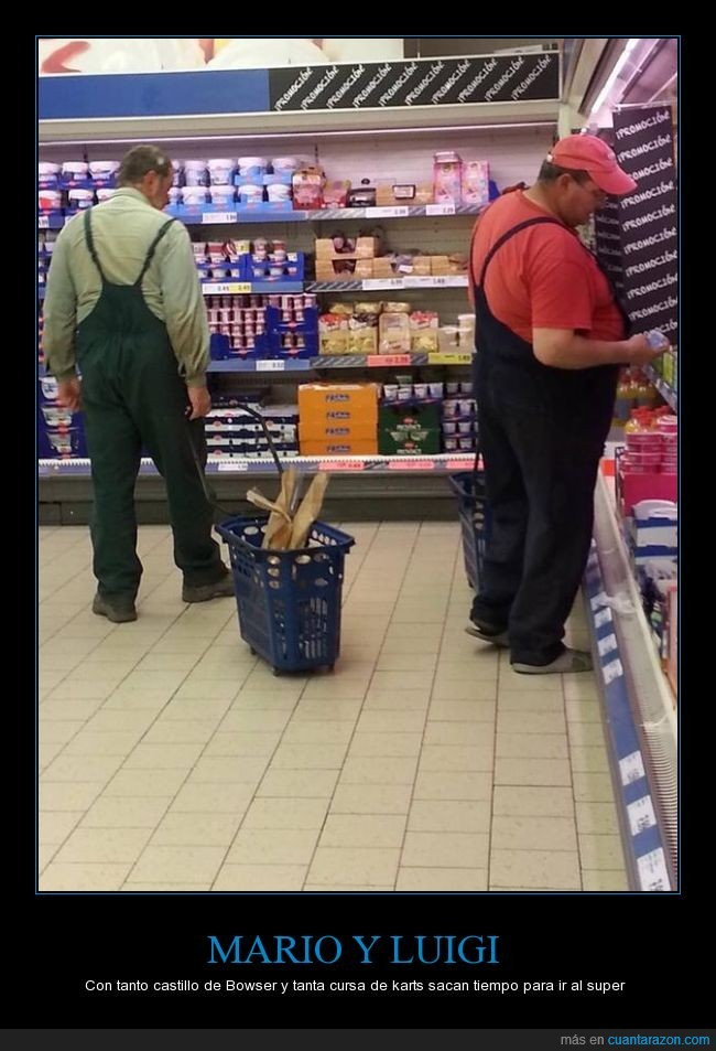 casualidad,comprar,luigi,mario,parecido,supermercado,tienda