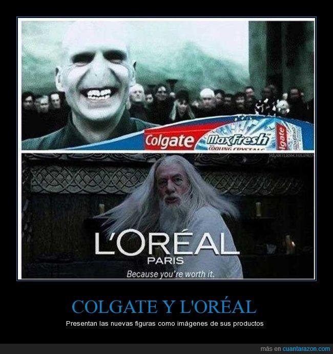 Albus Dumbledore,Colgate,dientes,L'Oréal,Lord Voldemort,más en la fuente original,pelazo