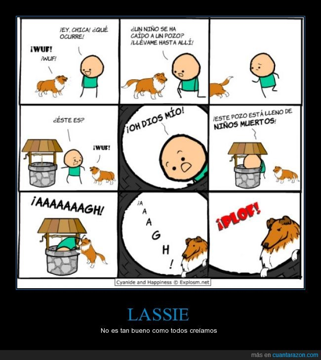 asesino,Lassie,muerto,niño,pelicula,perro,perro famoso,pozo,salvador,salvar,tirar