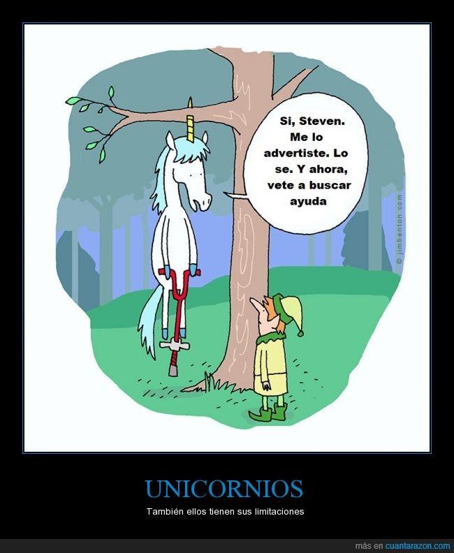 árbol,clavar,cuerno,duende,elfo,Jim Benton,rama,saltador,saltar,Steven,unicornio