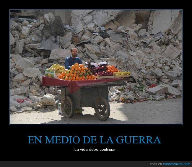 comer,escombros,fruta,guerra,puesto,siria,vender,verdura,vida