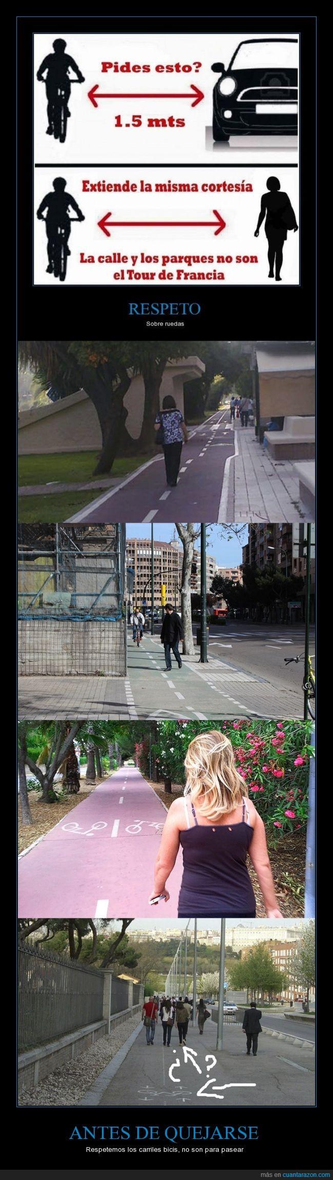 bici,bicicleta,caminar,carril,pasear,paseo,peaton,respeto,señora,transeunte