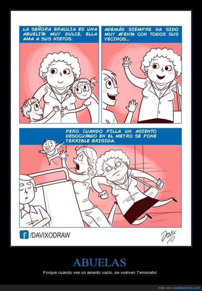 Abuela,Asiénto,asiento libre,Brigido: Dificil Peligroso,metro,peligro,señora,tierna,tirar