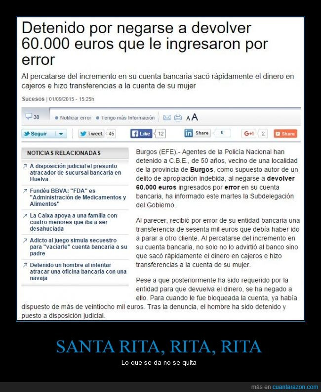 60 mil euros,Burgos,detenido por mo devolver,error del banco,traspaso