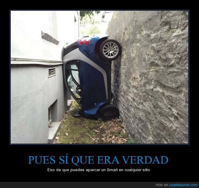 accidente,aparcamiento,aparcar,choque,coche,cualquier,diminuto,espacio,Fortwo,Smart