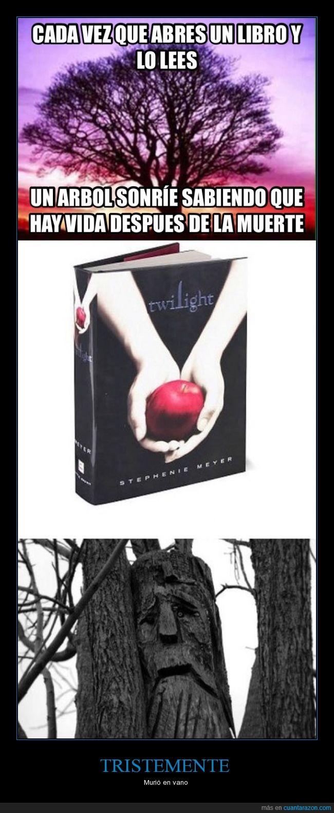 arbol,lectura,libro,morir,Twilight,vidA