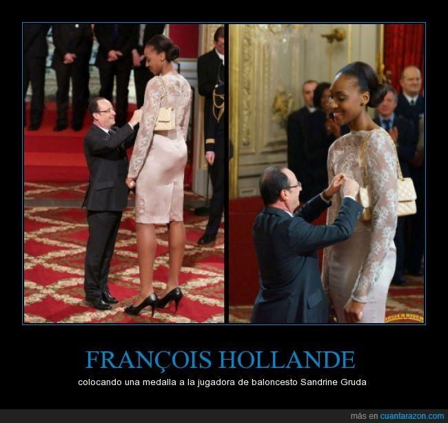 con Sarkozy hubiese sido el no va más,Hollande,jugadora de baloncesto,mini-presidente,Sandrine Gruda,y encima se pone tacones!