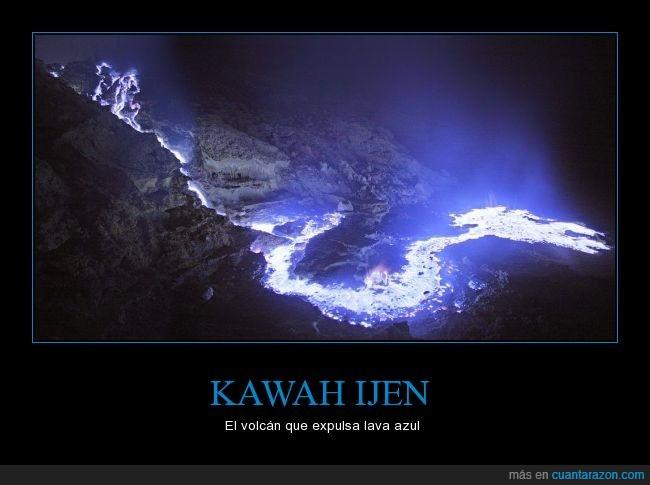 azul,Indonesia,Kawah ijen,lava,reacción,volcan