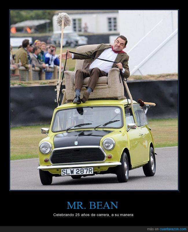 coche,conducir,encima,homenaje,mini,Mr. Bean,pelicula,remember,Rowan Atkinson,sillon,sofá
