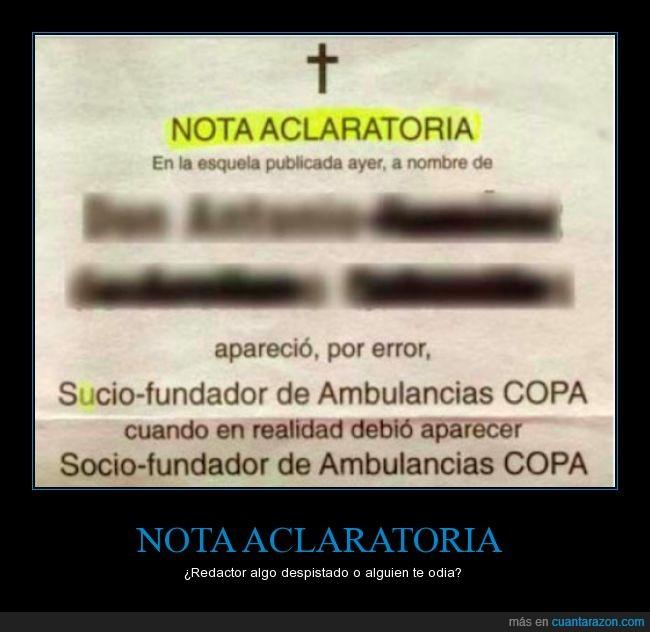 ambulancias,copa,error,errores,esquela,fundador,nota,socio,sucio