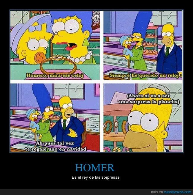 cómic,Homer,Los Simpson,Marge,plancha,regalo,reloj comprar,sorpresa