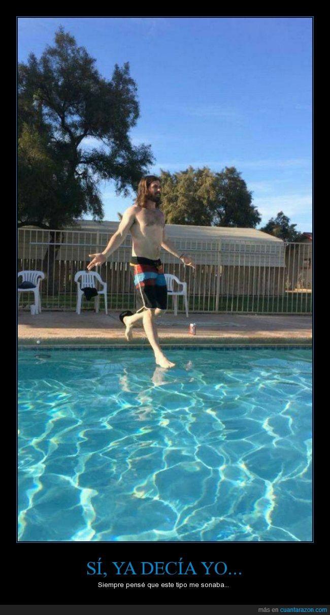 agua,caminar,dios,jesucristo,Jesús,momento exacto,piscina