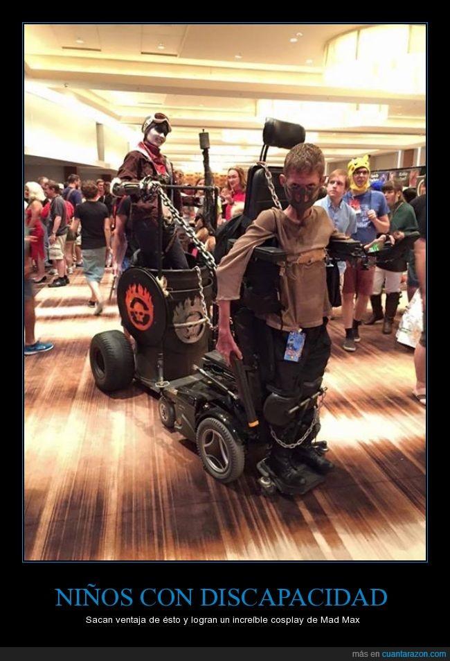caracterización,discapacidad,disfraz,Mad Max,movilidad,niño,niños,película,sillas