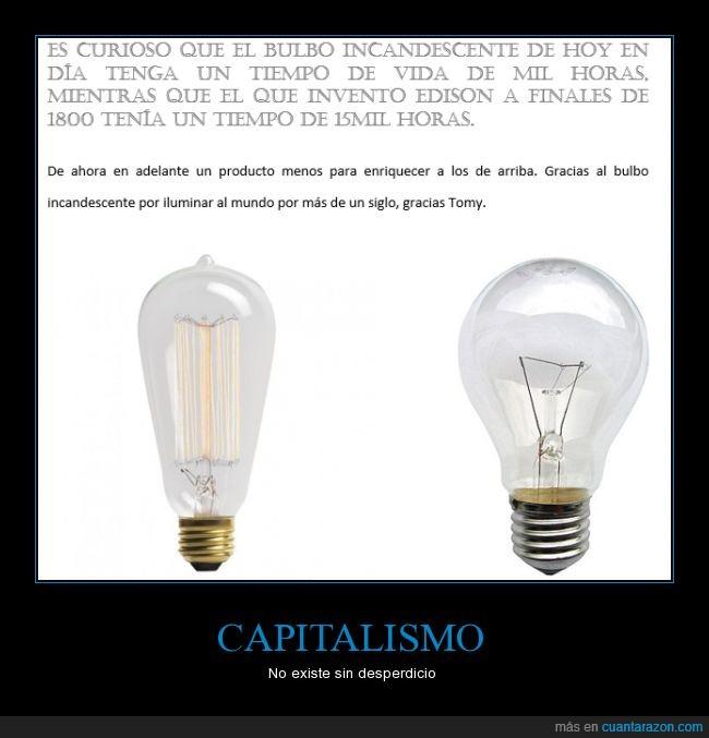 bombilla,desperdicio,durar,Edison,electricidad,iluminación,lampara incandescente,romper,vida util