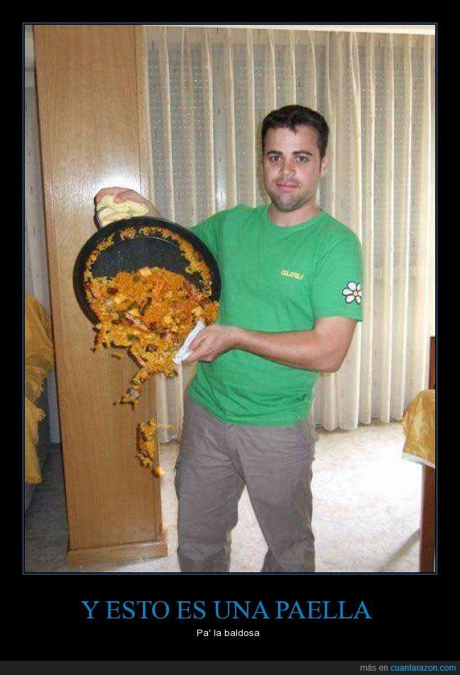arroz,baldosa,caer,comida,paella,sarten,terror
