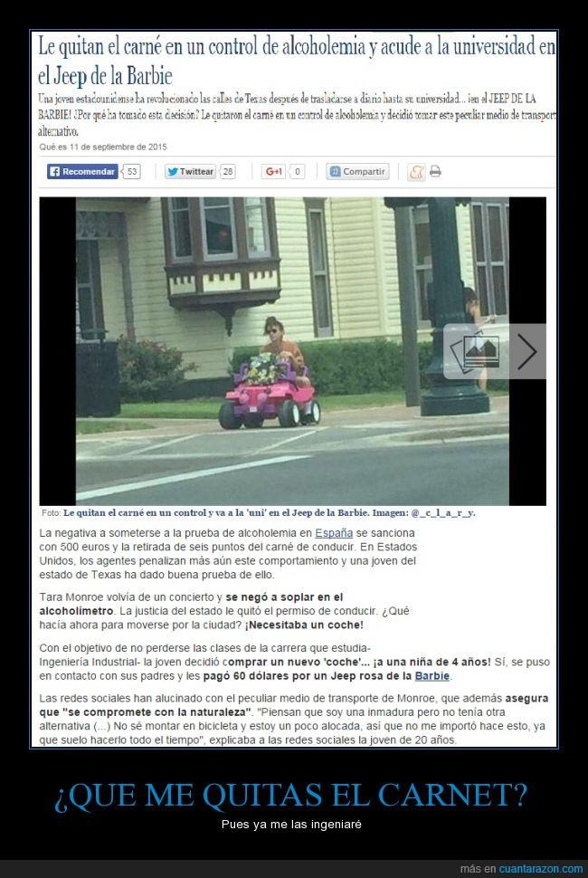 Barbie,carnet,chica,conducción,conducir,jeep,retirar