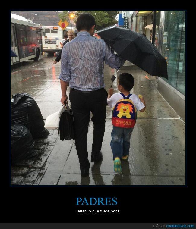 bienestar,hijo,mojarse,no mojar,padre,paraguas,salud,trabajo