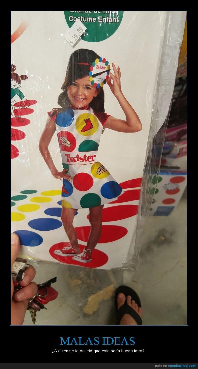 cutre,disfraz,juego,niña,Twister,vestido