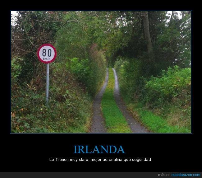 80 kilómetros,brecha,carretera,Irlanda,limite de velocidad,señal,vereda