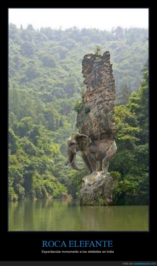 india,Roca con forma de elefante