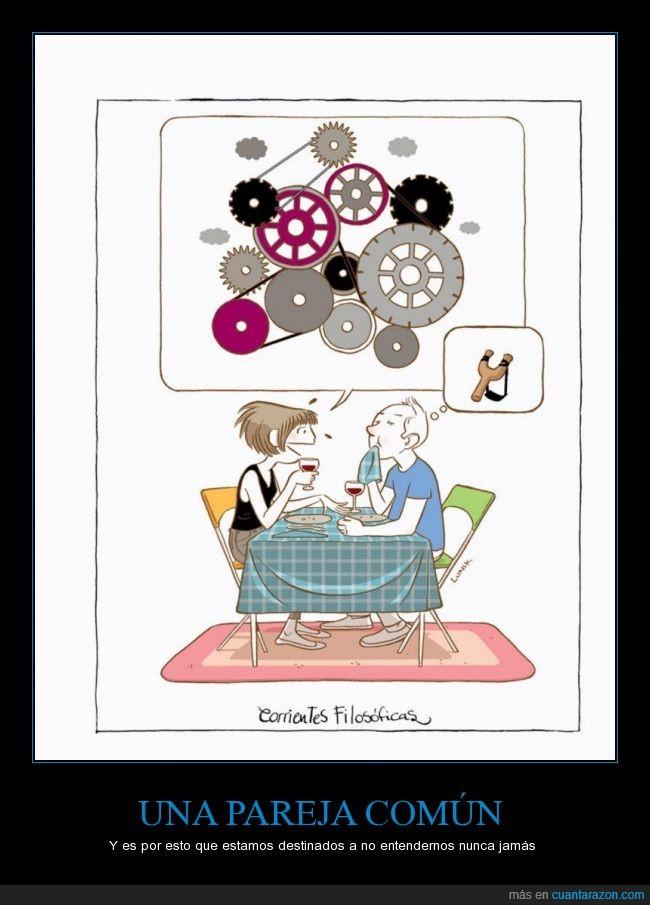 complicado,hombre,mecanismo,mujer,pareja,pensamiento,simple