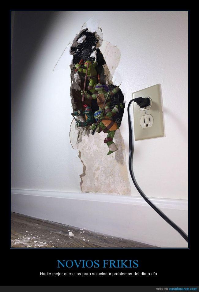 agujero,arreglar,ingenieros,pared,solucionar,tortugas ninja