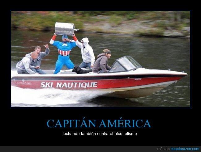 barril de cerveza,Capitán América,cosplay,Lancha,Marvel,motor,superheroe,velocidad